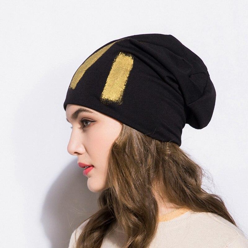 ea31cf56efc GZHilovingL New Winter Women Hats Cap 2018 Gold Metallic Thin Slouch  Beanies Spring Autumn Unisex Men Hip Hop Soft Polyester Hat-in Skullies    Beanies from ...