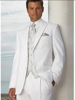 Custom Made Groom Tuxedo White Groomsmen Peak Lapel Wedding/Dinner Suits Best Man Bridegroom (Jacket+Pants+Tie+Vest) B220