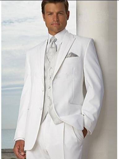 Smoking marié sur mesure hommes d'honneur blancs revers de mariage/dîner costumes meilleur homme marié (veste + pantalon + cravate + gilet) B220