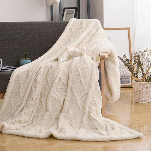 Solid Thickening Lambs Knitting Knee Throw Blanket Double Plush Thread Blanket for Beds Sofa Travel Home 120*180cm/150*200cm