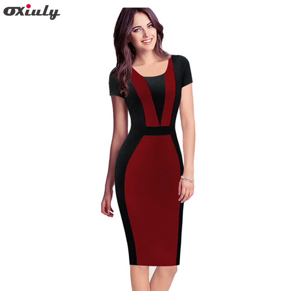 bebacef49890f Oxiuly Womens Elegant Optical Illusion Colorblock Contrast Modest Slim Wear  to Work Business Casual Party Sheath Pencil Dress