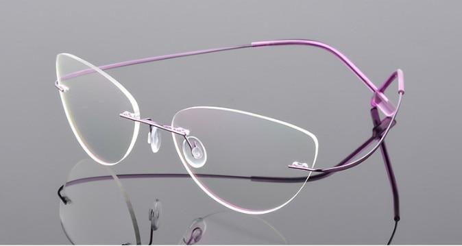 Cat Eye Women Titanium Alloy Rimless Myopia Glasses Nearsighted Glasses Prescription Glasses Purple -0.50 -0.75 -1.25 To -6.00