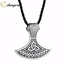 CHENGXUN Gothic Vintage Axe Pendant Men Necklace Valknut Odin 's Symbol of Norse Viking Mjolnir Charm Jewelry(China)