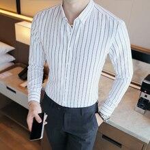 Handsome Guy Shirt 2019 New Button-Down Collar Striped Shirt Men Slim Fit Marry Dress Classic White Shirts Long Sleeve стоимость
