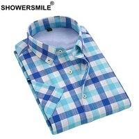 SHOWERSMILE Mens מודאלי Mens המשובץ כחול משובץ שרוול קצר חולצות קיץ ללא ברזל חולצות עסקי גברים מותג שירט