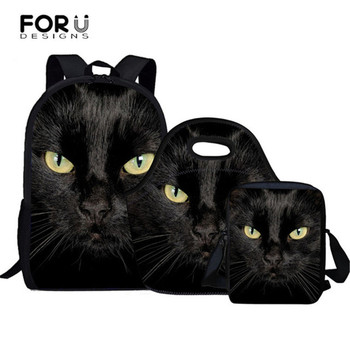 8fe7dc36e30a FORUDESIGNS/Черный кот узор детские школьные сумки набор начальной школы  рюкзак для девочек Дети Ортопедические рюкзаки школьные сумки