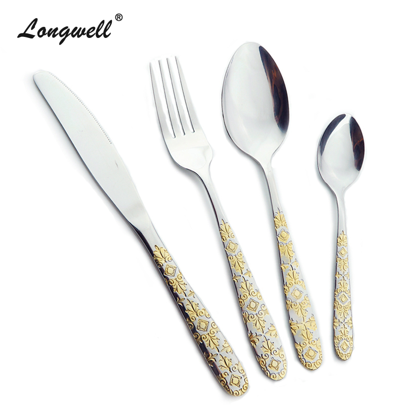 Quality Stainless Steel Cutlery Set Gold Plated Dinnerware Sets 24 Pieces Fork Knife Set Exquisite Western
