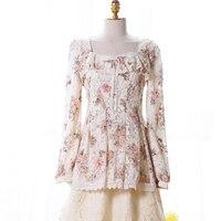 Милая блузка Лолита принцессы на осень и зиму, Тонкая блузка с принтом, милая мягкая блузка принцессы с бантом и кружевом, UF133