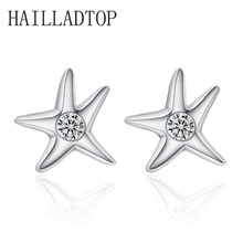 Fashion Jewelry Silver Stud Earrings Top Quality Crystal Luxury Asymmetric Five pointed Star Starfish Earrings Clear