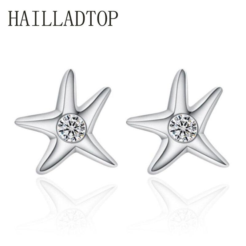 Fashion font b Jewelry b font Silver Stud Earrings Top Quality font b Crystal b font