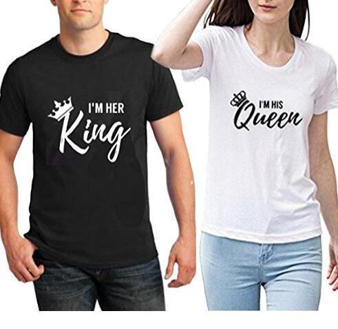 2018 New Letter Tee I'M HER King and I'M HIS Queen Couple Lovers Short Sleeve T-shirt Black White Crown Tshirt