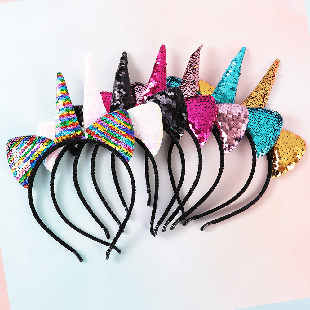 2019 New Cute Can Flip Sequins Glitter Unicorn Hairband Rainbow Cat Ears Kid New Year Party Cartoon Headband Hair Accessories