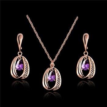 HHYDE respetuosa con el medio ambiente, nueva moda para mujer, Color dorado, 8 colores, collar, pendientes, joyería, conjunto de regalo