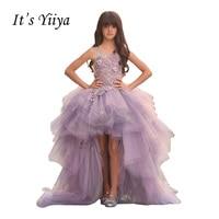 Het YiiYa Paars O-hals Mouwloze Illusion Applicaties Kid Baljurken Bloemen Floor Lengte Flower Meisjes Slip Jurken TS278