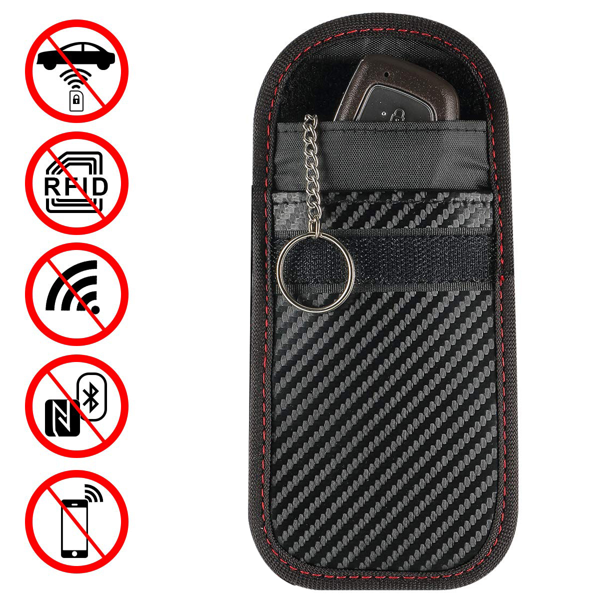 1pc/2pcs Portable Signal Blocker Car Key Case Faraday Cage Keyless Entry Fob Pouch RFID Blocking Bag With Key Chain Ring