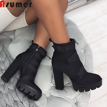 ASUMER 2019 new ankle boots for women round toe zup square high heels shoes platform thick heels autumn winter women boots