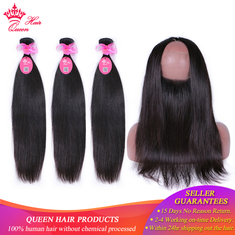 Queen Hair Product Pre Plucked 360 Frontal With Bundles Brazilian Straight Virgin Human Hair 2 3