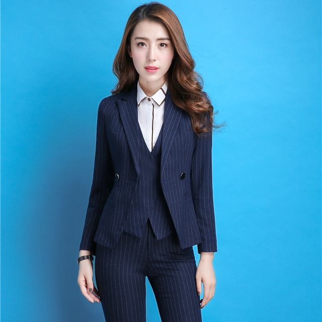 Fashion Striped Autumn Winter Formal Professional Pantsuits Uniform Styles  Business Women Pants Suits Plus Size Blazers Outfits 8ce81bf81b11