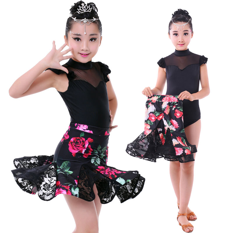 2pcs Sets Girl Latin Dance Dress For Girls Ballroom Dancing Dress Girl Competition Dancewear Kids Kid Dance Costumes Set