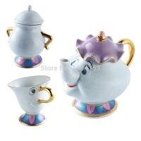 Beauty And The Beast Chip Bule Xícara de Chá Definir Mrs Potts Lindo Conjunto de Porcelana de Café Presente Criativo [1 Pote + 1 Xícara + 1 Açucareiro]
