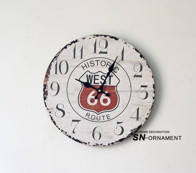 WEST 66 Europe Retro large Decorative Wall Clocks Antique Style nostalgia Wood Living Room Clock