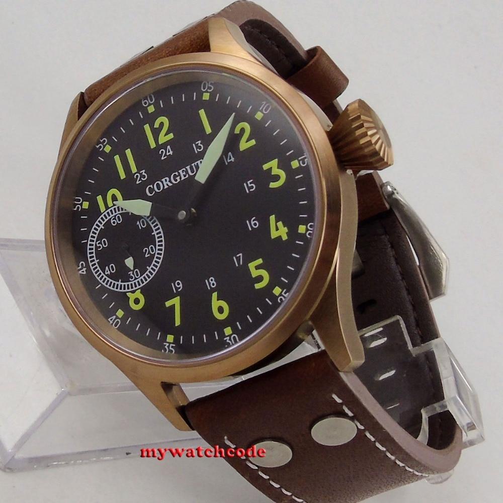 43mm corgeut black dial bronze plated case sapphire 6497 hand winding mens watch43mm corgeut black dial bronze plated case sapphire 6497 hand winding mens watch