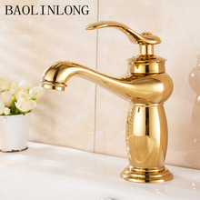 Brass Bathroom Basin Faucet Deck Mount Vanity Vessel Sinks Mixer Tap Hot & Cold Bath Faucets
