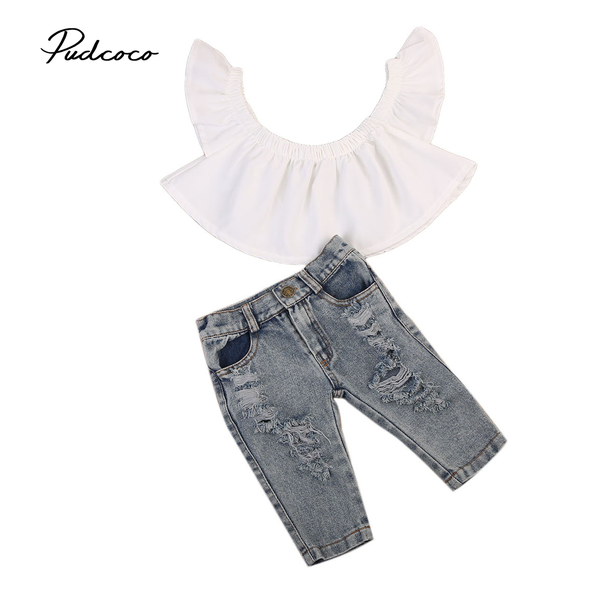 2017 Brand New Toddler Infant Kids Baby Girls Flutter Off Shoulder Tops Holes Denim Pants 2Pcs Outfits Fashion Clothes 6M-4T