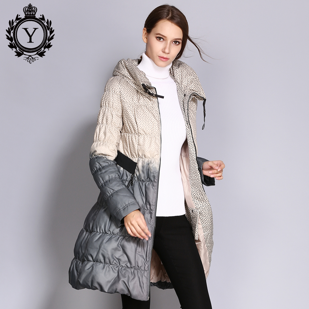 COUTUDI 2017 Winter Plus Size Down Coat Women Parkas Female Long Duck Down Padded Jacket Hit Color High Quality Women's Clothing 1