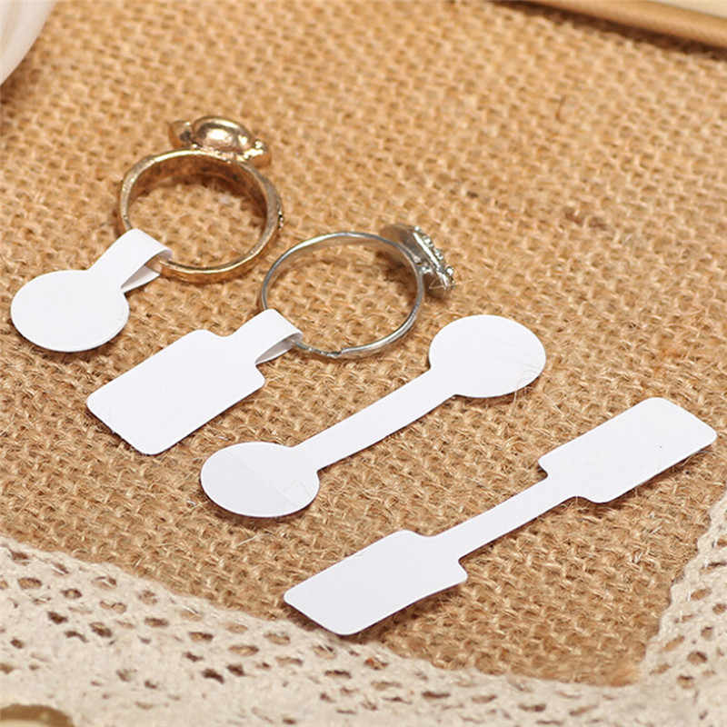 100 Stks/zak 2 Stijlen Wit Papier Stickers Retail Store Lege Prijskaartjes Ketting Ring Sieraden Etiketten Groothandel