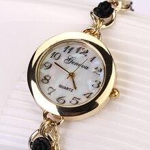 Vendas quentes Populares das Mulheres de Luxo Vestido de Design Genebra Faux Pérola Flor Pulseira Vestido de Quartzo Analógico Relógio de Pulso 5V7J NO181