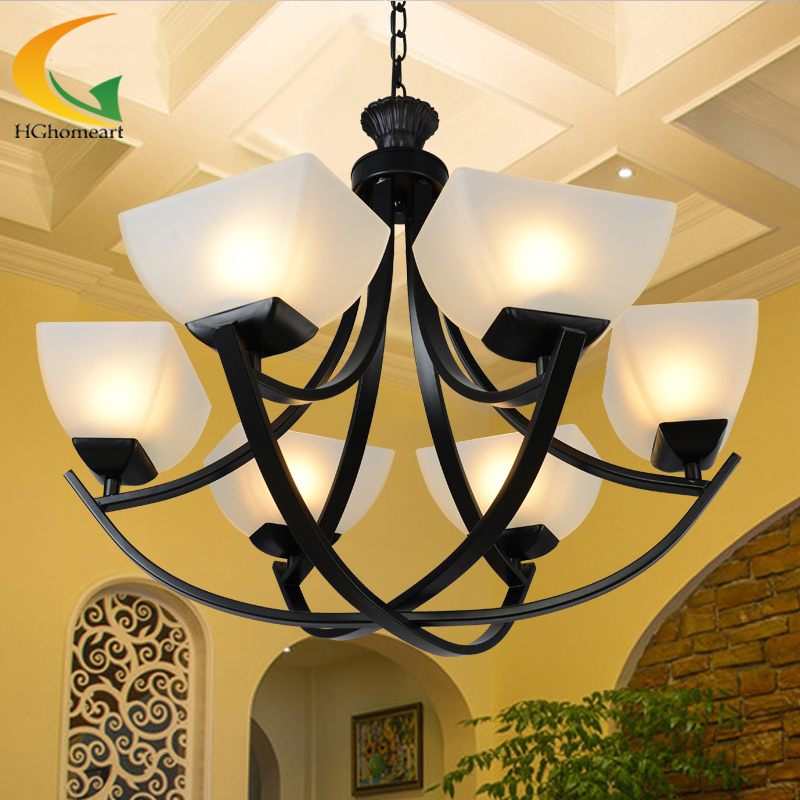 minimalist living room chandelier wrought iron chandeliers simple European dinner room retro chandelier led lamp e27