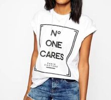 no one cares T Shirt  New Celebrity Ladies Slogan Printed Short Sleeve Casual women Tee US size XS-2XL