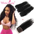 Malaysian Curly Hair With Closure 4pcs Queen Beauty Weave Kinky Curly Weave Human Hair With Top Closure Fast And Free Shipping