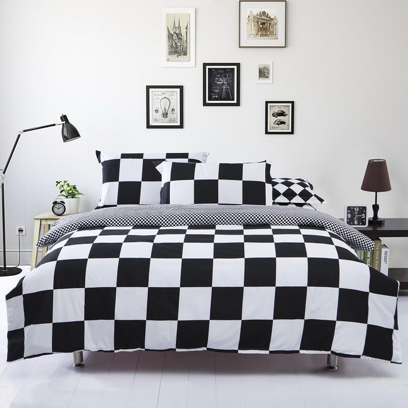 Black White Stripe Plaid Print Bedding Sets 2 3pcs Single