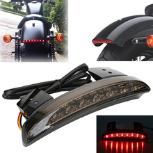Bright Red Motorcycle Smoke Tail Light Chopped Fender Edge LED Brake font b Lamp b font