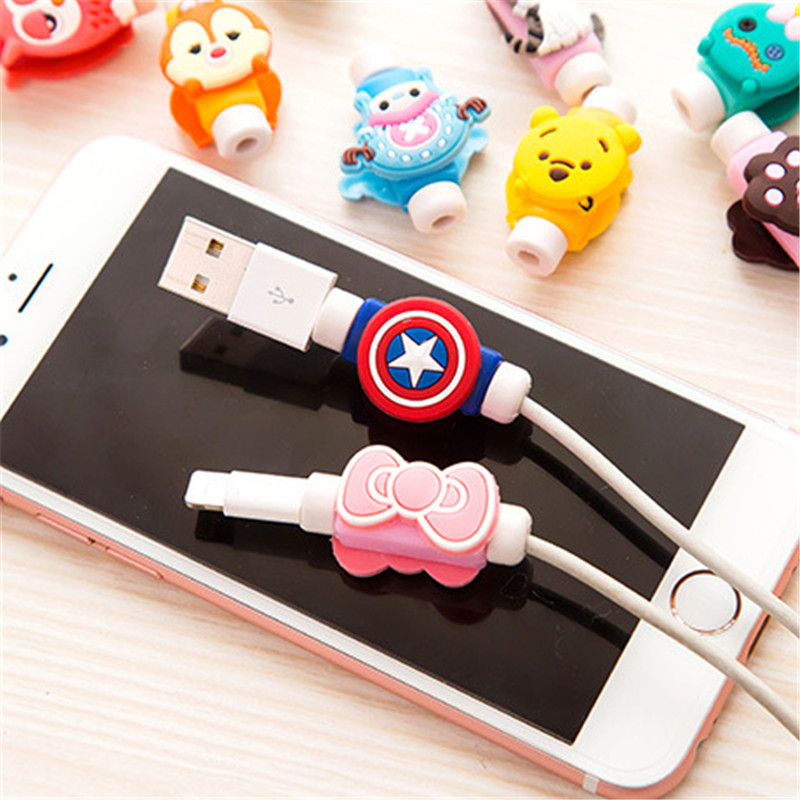 Cute Cartoon Cable Protector de cabo USB Cable Winder For IPhone 5 5s 6 6s 7 7s plus cable Protect stitch devanadera Cover Case cute marshmallow style silicone back case for iphone 5 5s yellow white