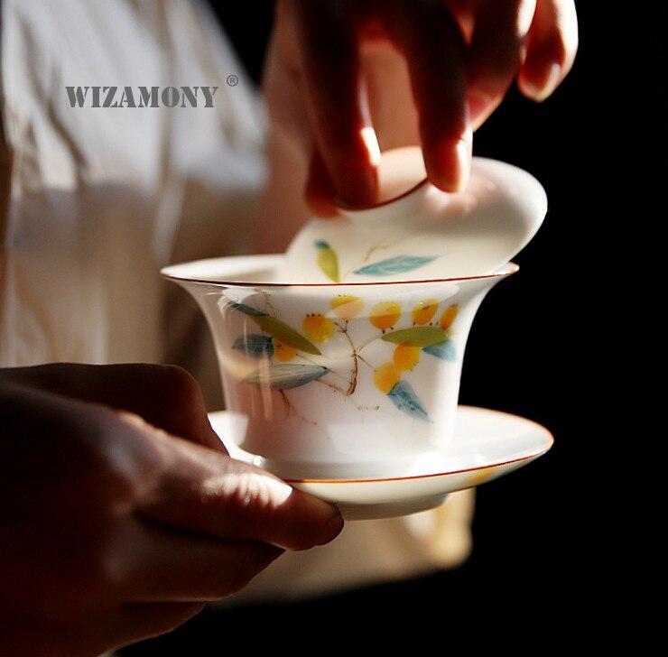 1 pièces WIZAMONY chinois Kung Fu thé ensemble gaiwan théière teacups peint à la main thé ensembles porcelaine céramique cadeau puer Drinkware