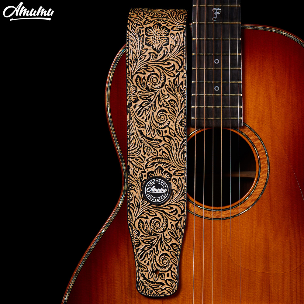 Embossed PU leather Guitar Strap for Electric Bass Guitar 130-150 cm Acoustic Folk Electric Bass Guitar Belt warp knitting classical guitar strap acoustic electric guitar strap extreme well