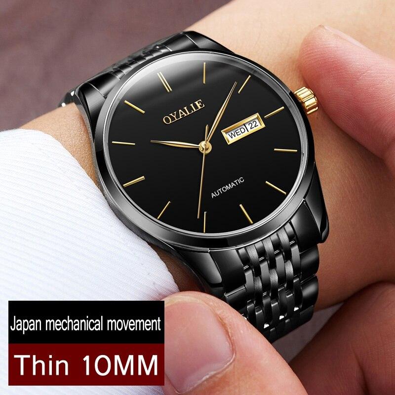 Véritable Mécanique Montre OYALIE Marque Hommes Ultra mince Montres Automatique Montre-Bracelet Homme De Mode De Luxe Japonais mouvement Horloge