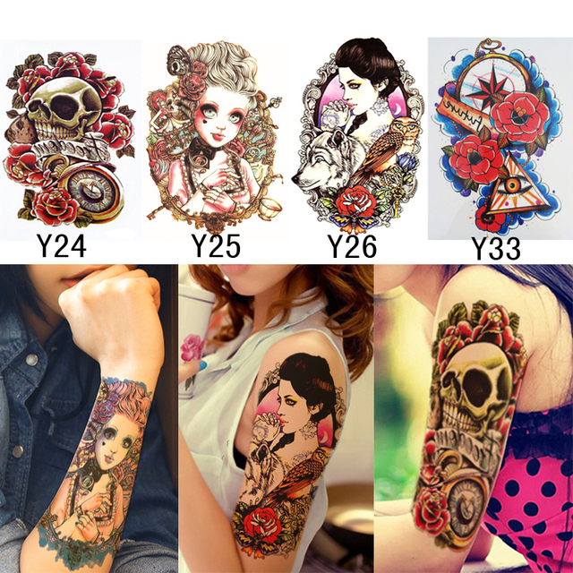 4pcs temporary tattoos for men women metallic tattoos sleeve water transfer stickers tattoo skull head cool