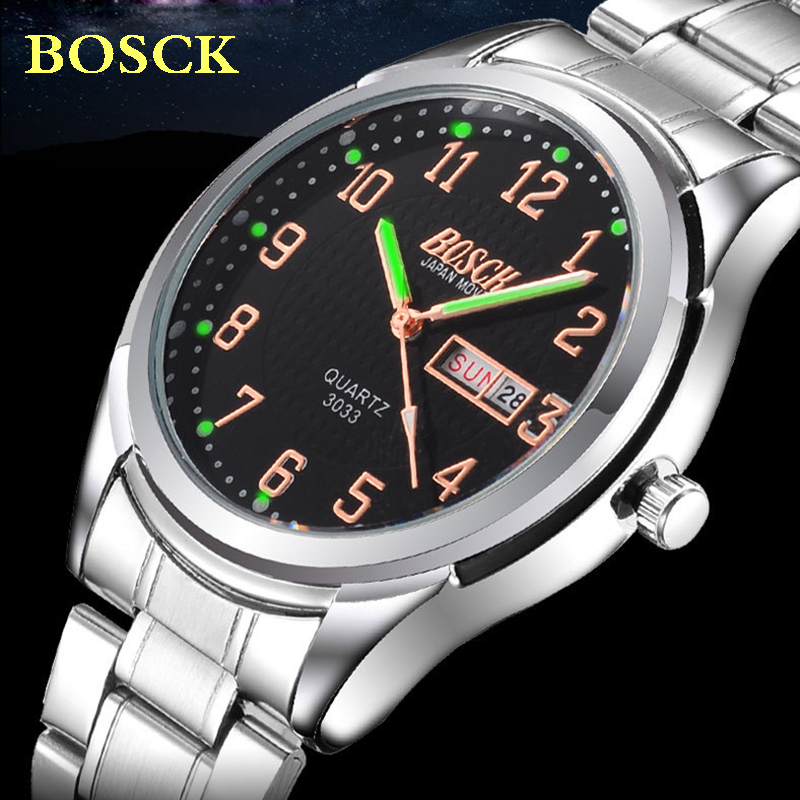 2016 BOSCK Auto Date Silver Watches Men Luxury Brand Steel Band Quartz Fashion Casual Business Watch Male relogios masculinos skone brand men s bamboo watches women s wooden wristwatches unisex quartz watch luxury casual fashion relogios masculinos