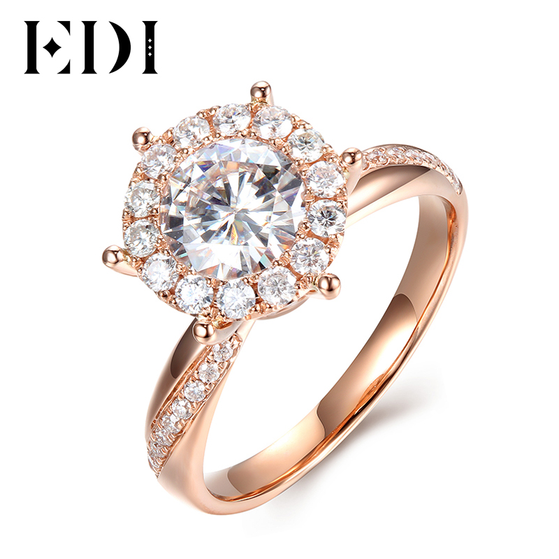 EDI Unique Halo Moissanites Rings Solid 9k Rose Gold 1ct Carat Round Cut Lab Grown Diamond Wedding Ring For Women helon solid 18k 750 rose gold 0 1ct f color lab grown moissanite diamond bracelet test positive for women trendy style jewelry