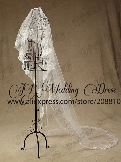 Free Shipping 100% High Quality Soft Netting White/Ivory Lace Edge 3-Meter Long Sequins Bridal Veil Wedding Accessories