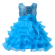 2 to 13 Years Girls Clothes Girl Dress Purple Blue Red Dress Princess Dress Roupas Infantis Menina Flower Girls Sequined dresses