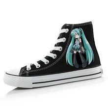 Hombres Mujeres Anime Miku Mano Pintado Zapatos de Lona High-Top Muchachas de Los Zapatos de La Pintada de la Historieta de Cosplay Estudiante Zapato Plano