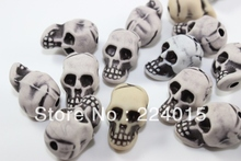 Free Shipping 50Pcs/21x14mm Random Mixed Color Skull/Skeleton Acrylic Spacer BeadsFit Jewelry Findings DIY