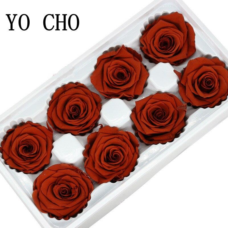 YO CHO 8 stücke Erhalten Ewigen Rosen Köpfe In box Hohe Qualität Trockenen Natürliche Frische Blumen Für Immer Rose newyear Valentine der Geschenk