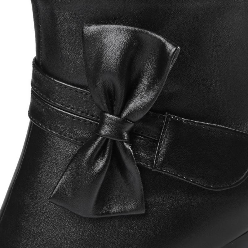 5a08486a4283b À Hauts Fourrure 32 43 rose Bowtie Beige Courtes 4 noir Bottes De Chaussures  Zipper Dames ...