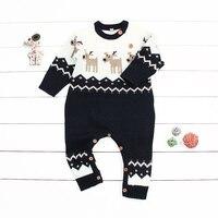 חורף חג המולד בייבי בנות Rompers סרבלי בני פעוט מצחיק סרבל תינוקות בעלי החיים איל סרוג של השנה החדשה יילוד תלבושות